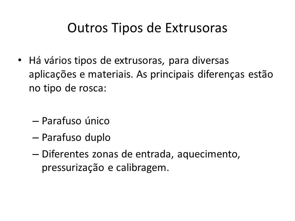 Outros Tipos de Extrusoras Há vários tipos de extrusoras, para diversas aplicações e materiais. As principais diferenças estão no tipo de rosca: – Par