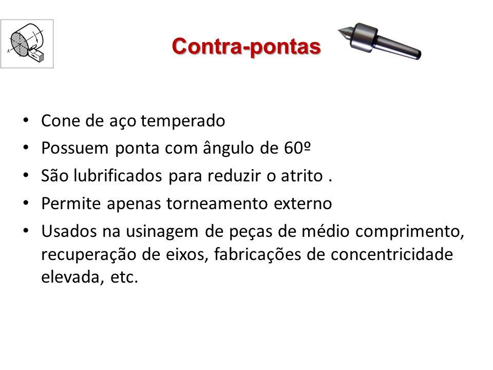 Contra-pontas Cone de aço temperado Possuem ponta com ângulo de 60º São lubrificados para reduzir o atrito. Permite apenas torneamento externo Usados