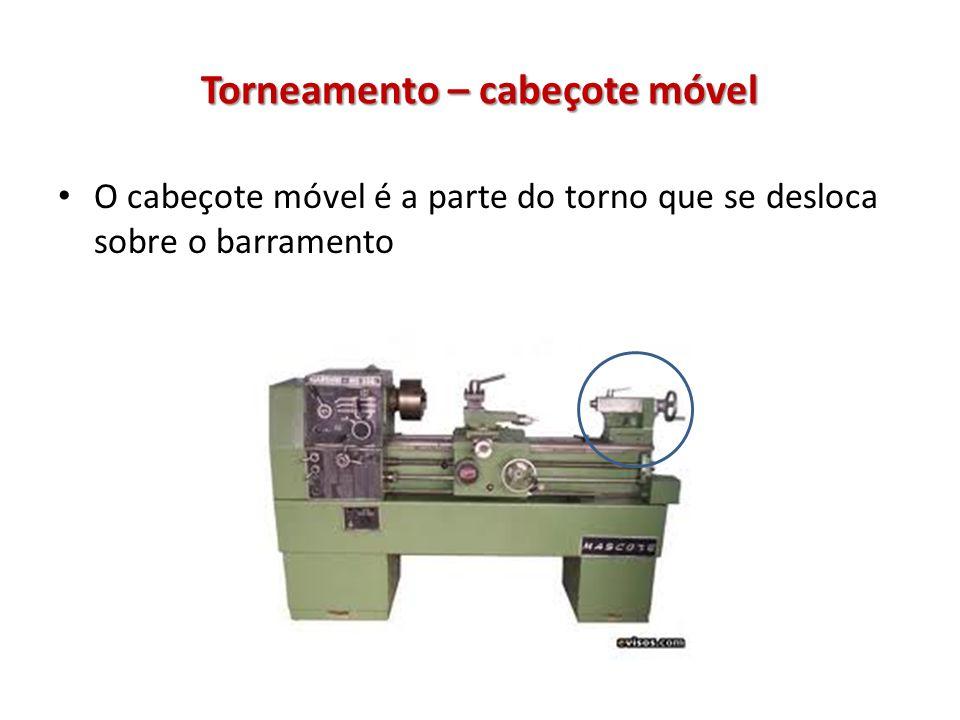 Torneamento – cabeçote móvel O cabeçote móvel é a parte do torno que se desloca sobre o barramento