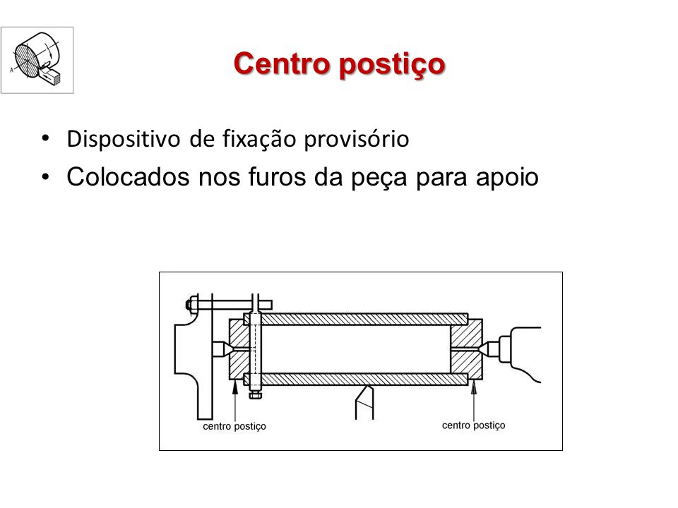 Centro postiço Dispositivo de fixação provisório Colocados nos furos da peça para apoio