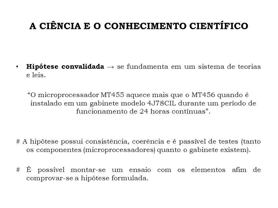 A CIÊNCIA E O CONHECIMENTO CIENTÍFICO Hipótese convalidada se fundamenta em um sistema de teorias e leis. O microprocessador MT455 aquece mais que o M