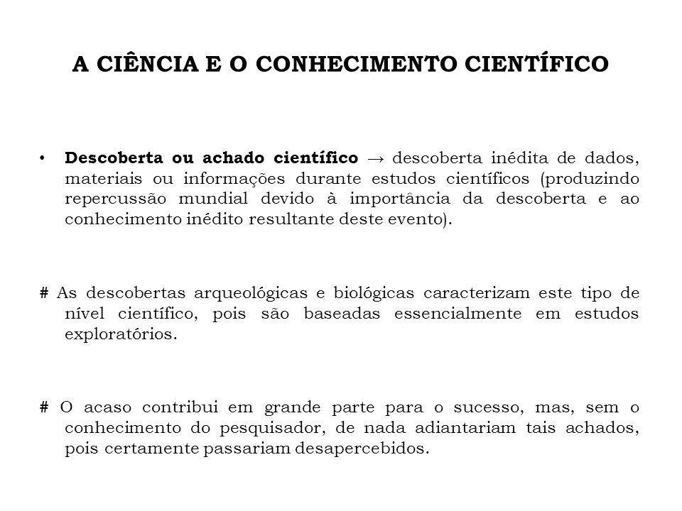 A CIÊNCIA E O CONHECIMENTO CIENTÍFICO Descoberta ou achado científico descoberta inédita de dados, materiais ou informações durante estudos científico