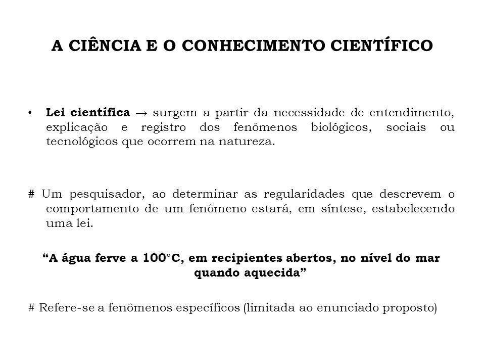 A CIÊNCIA E O CONHECIMENTO CIENTÍFICO Lei científica surgem a partir da necessidade de entendimento, explicação e registro dos fenômenos biológicos, s