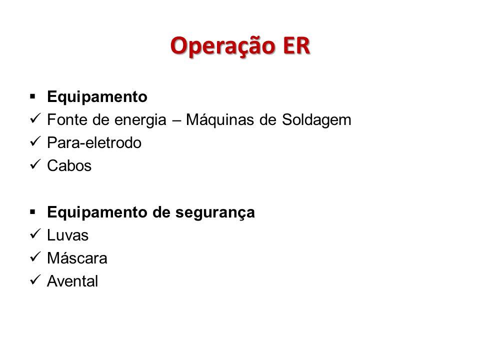 Operação ER Equipamento Fonte de energia – Máquinas de Soldagem Para-eletrodo Cabos Equipamento de segurança Luvas Máscara Avental