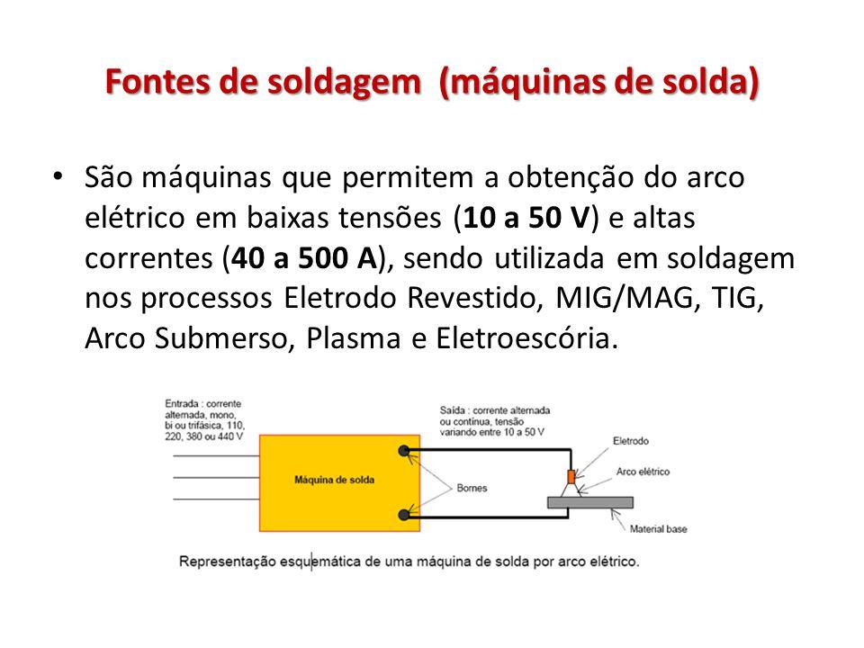 Fontes de soldagem (máquinas de solda) São máquinas que permitem a obtenção do arco elétrico em baixas tensões (10 a 50 V) e altas correntes (40 a 500