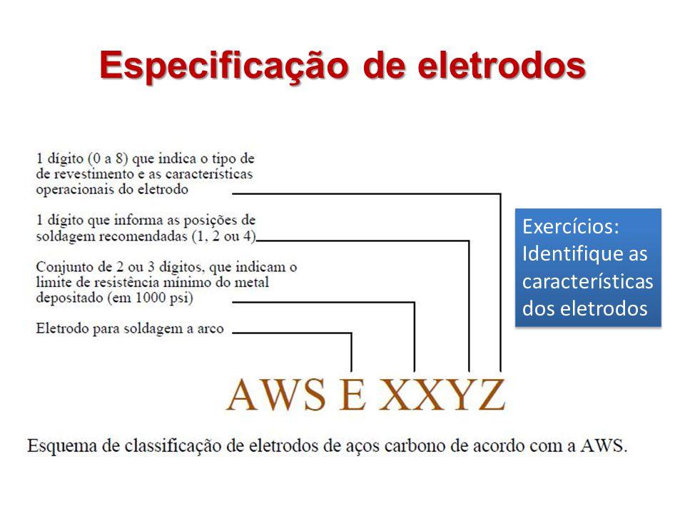 Especificação de eletrodos Exercícios: Identifique as características dos eletrodos Exercícios: Identifique as características dos eletrodos