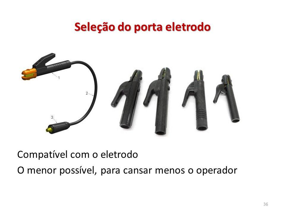Seleção do porta eletrodo Compatível com o eletrodo O menor possível, para cansar menos o operador 36