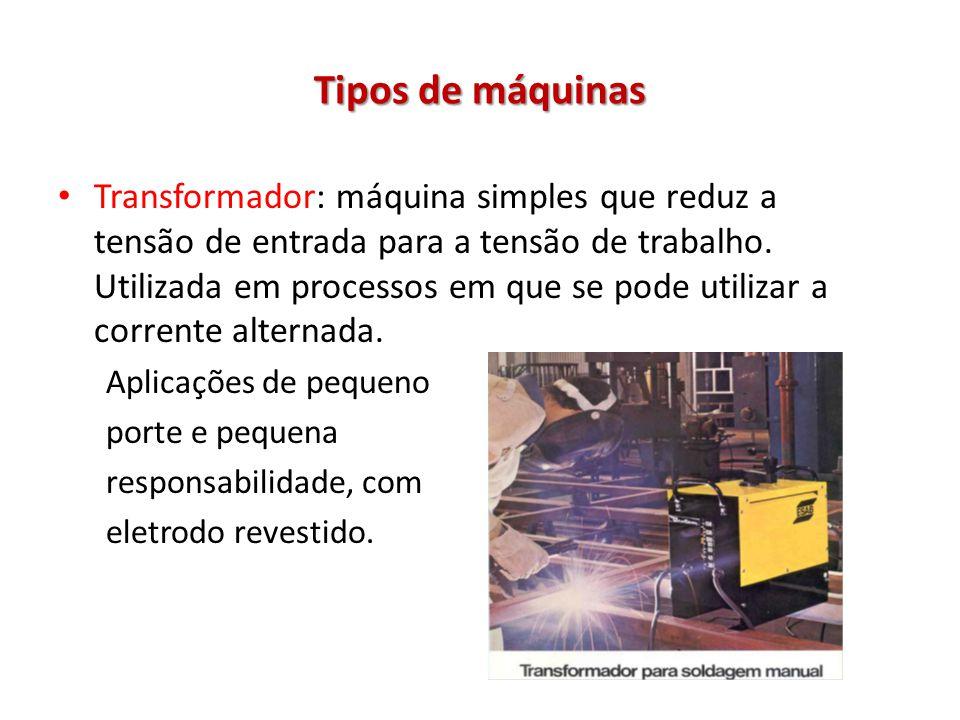 Tipos de máquinas Transformador: máquina simples que reduz a tensão de entrada para a tensão de trabalho. Utilizada em processos em que se pode utiliz