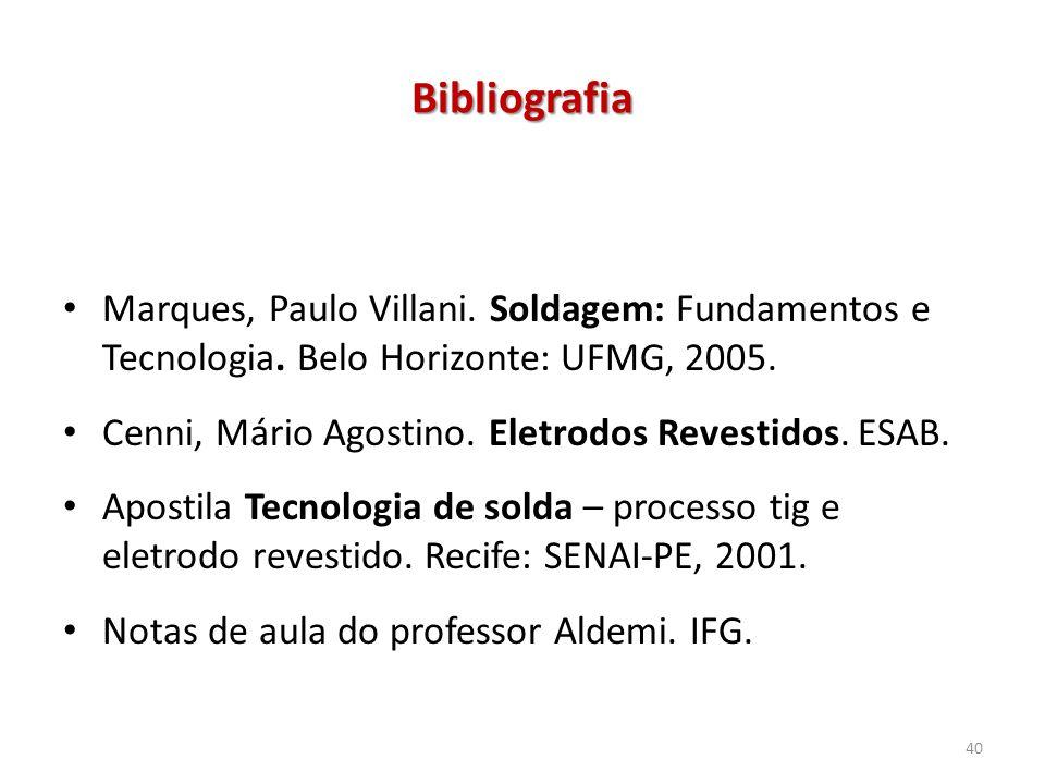 Bibliografia Marques, Paulo Villani. Soldagem: Fundamentos e Tecnologia. Belo Horizonte: UFMG, 2005. Cenni, Mário Agostino. Eletrodos Revestidos. ESAB