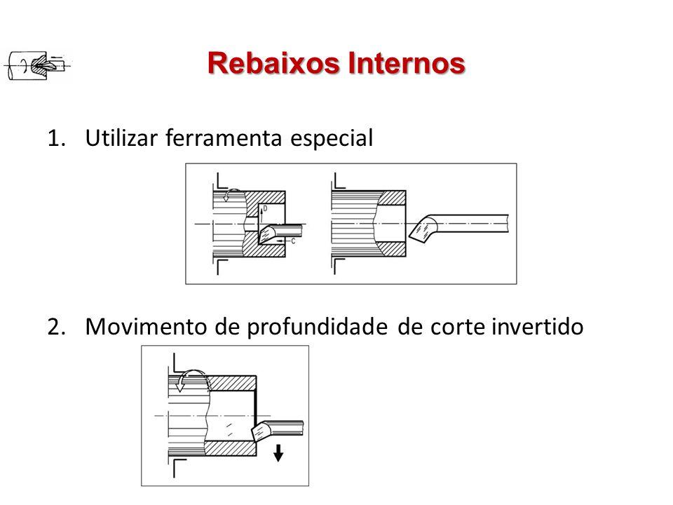Rebaixos Internos 1.Utilizar ferramenta especial 2.Movimento de profundidade de corte invertido