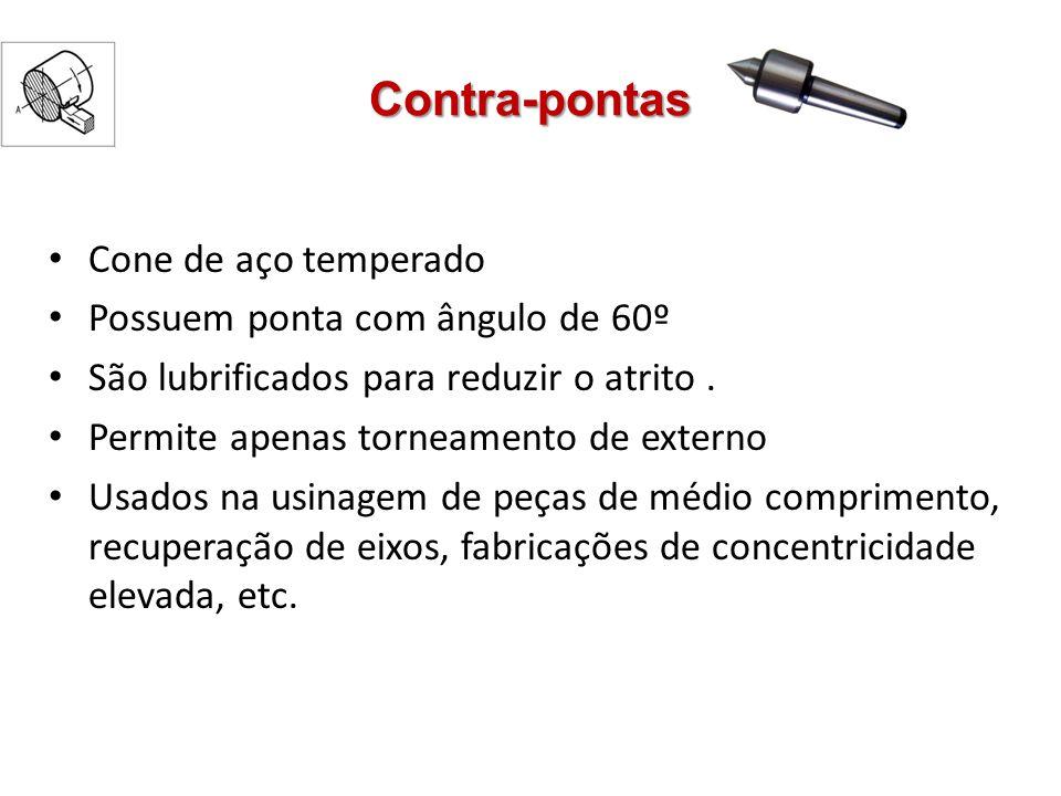 Contra-pontas Cone de aço temperado Possuem ponta com ângulo de 60º São lubrificados para reduzir o atrito. Permite apenas torneamento de externo Usad