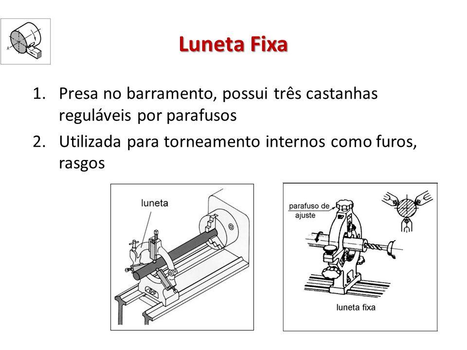 Luneta Fixa 1.Presa no barramento, possui três castanhas reguláveis por parafusos 2.Utilizada para torneamento internos como furos, rasgos