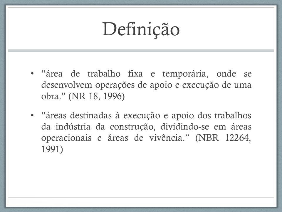 Definição área de trabalho fixa e temporária, onde se desenvolvem operações de apoio e execução de uma obra. (NR 18, 1996) áreas destinadas à execução