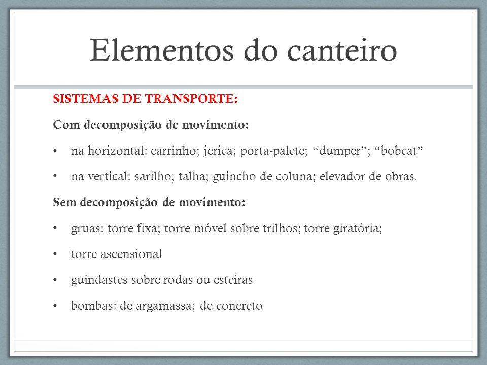 Elementos do canteiro SISTEMAS DE TRANSPORTE: Com decomposição de movimento: na horizontal: carrinho; jerica; porta-palete; dumper; bobcat na vertical