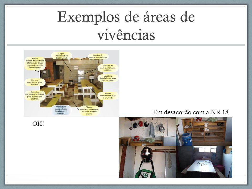 Exemplos de áreas de vivências OK! Em desacordo com a NR 18