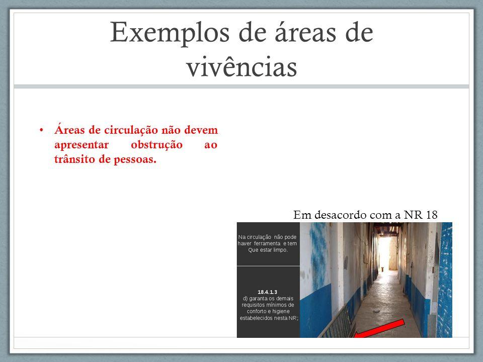 Exemplos de áreas de vivências Em desacordo com a NR 18 Áreas de circulação não devem apresentar obstrução ao trânsito de pessoas.