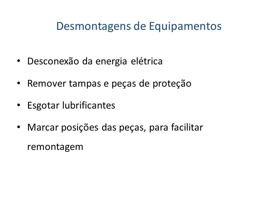 Desmontagens de Equipamentos Desconexão da energia elétrica Remover tampas e peças de proteção Esgotar lubrificantes Marcar posições das peças, para f