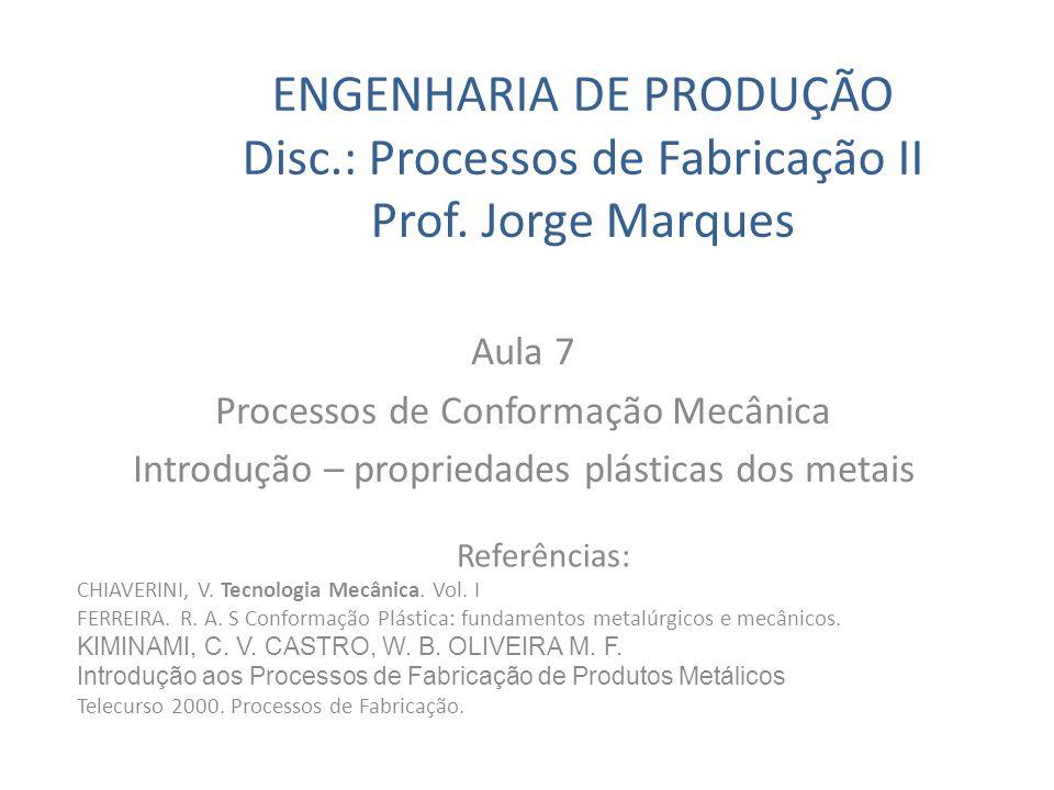 ENGENHARIA DE PRODUÇÃO Disc.: Processos de Fabricação II Prof. Jorge Marques Aula 7 Processos de Conformação Mecânica Introdução – propriedades plásti