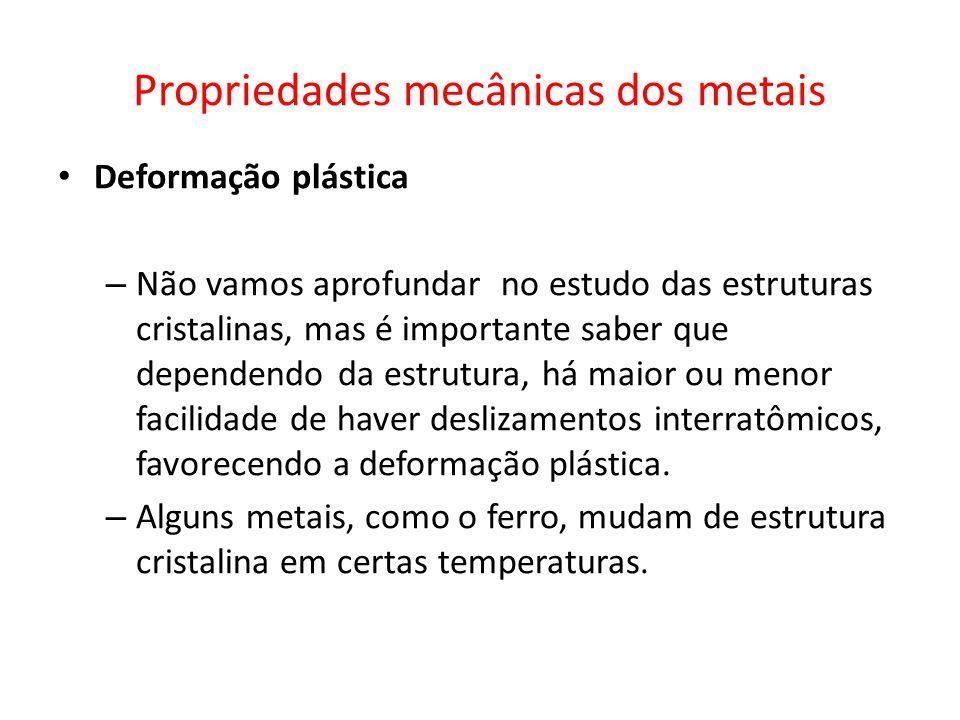 Propriedades mecânicas dos metais Deformação plástica – Não vamos aprofundar no estudo das estruturas cristalinas, mas é importante saber que dependen