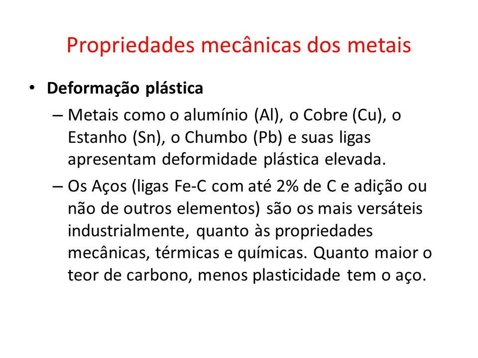 Propriedades mecânicas dos metais Deformação plástica – Metais como o alumínio (Al), o Cobre (Cu), o Estanho (Sn), o Chumbo (Pb) e suas ligas apresentam deformidade plástica elevada.