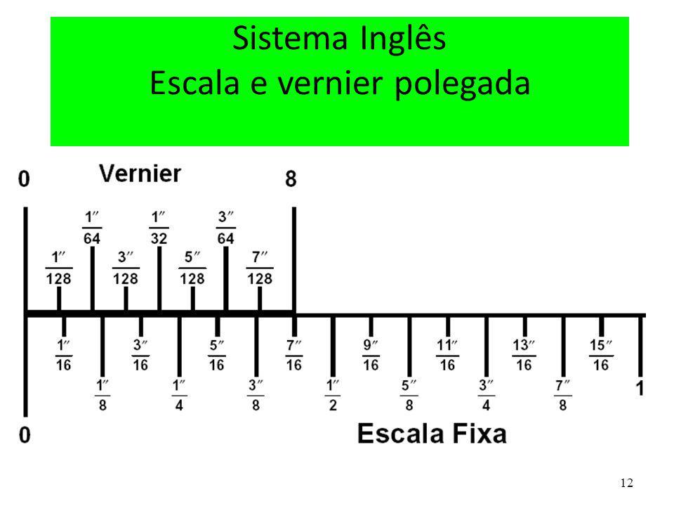Sistema Inglês Escala e vernier polegada