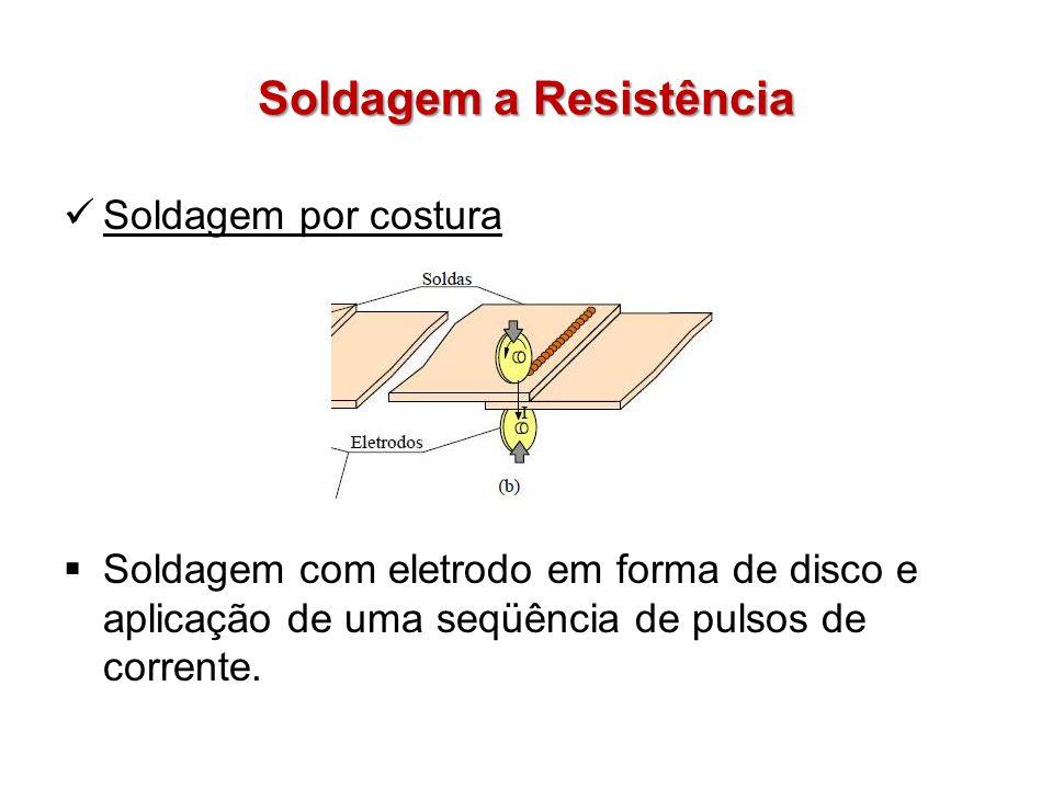 Soldagem a Resistência Soldagem por costura Soldagem com eletrodo em forma de disco e aplicação de uma seqüência de pulsos de corrente.