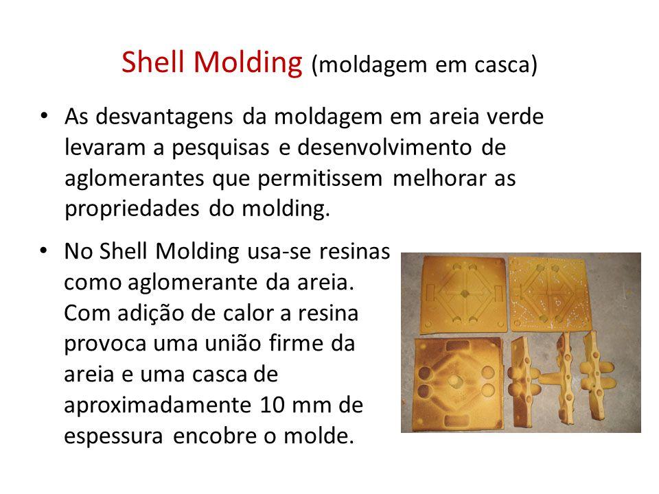 Shell Molding (moldagem em casca) As desvantagens da moldagem em areia verde levaram a pesquisas e desenvolvimento de aglomerantes que permitissem mel