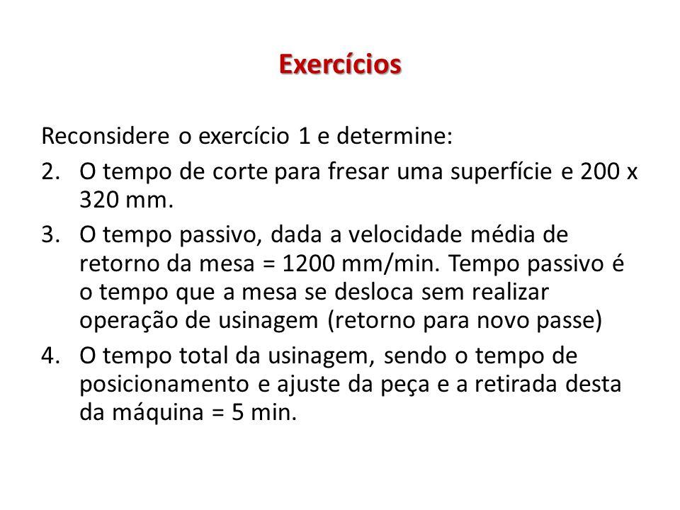Exercícios Reconsidere o exercício 1 e determine: 2.O tempo de corte para fresar uma superfície e 200 x 320 mm. 3.O tempo passivo, dada a velocidade m