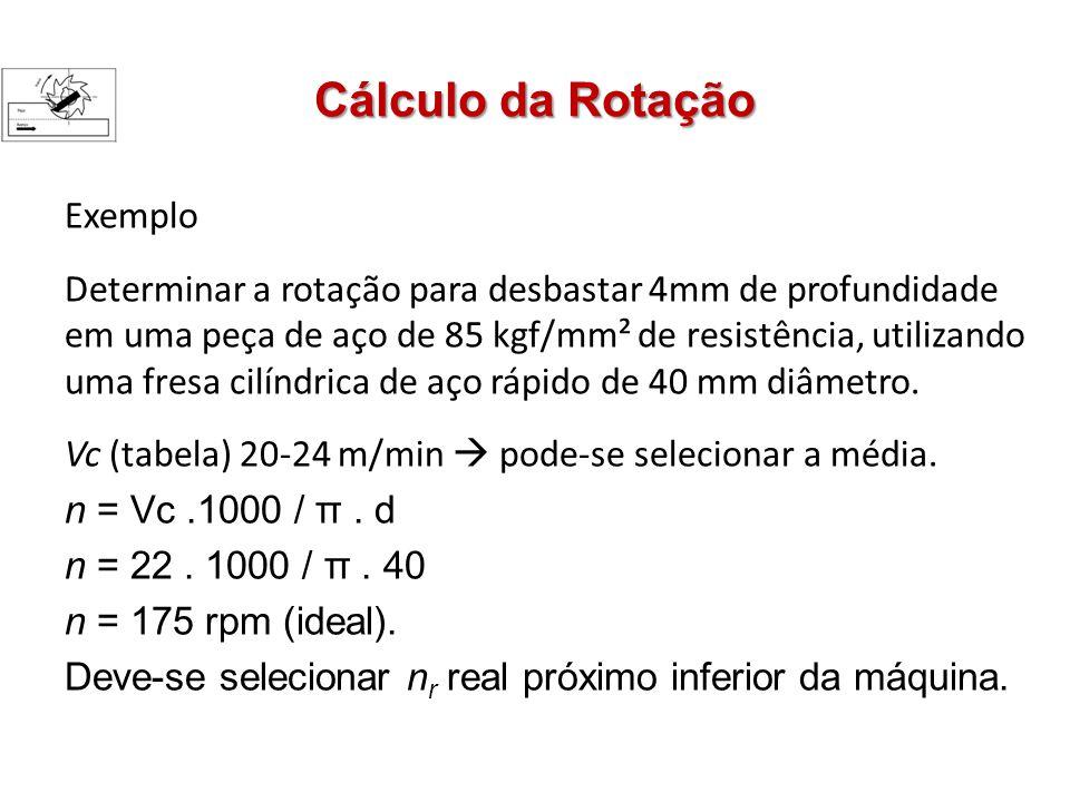 Cálculo da Rotação Exemplo Determinar a rotação para desbastar 4mm de profundidade em uma peça de aço de 85 kgf/mm² de resistência, utilizando uma fresa cilíndrica de aço rápido de 40 mm diâmetro.