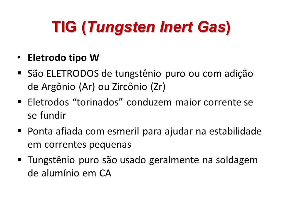 TIG (Tungsten Inert Gas) Eletrodo tipo W São ELETRODOS de tungstênio puro ou com adição de Argônio (Ar) ou Zircônio (Zr) Eletrodos torinados conduzem
