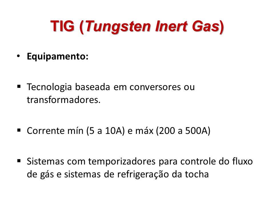 TIG (Tungsten Inert Gas) Equipamento: Tecnologia baseada em conversores ou transformadores. Corrente mín (5 a 10A) e máx (200 a 500A) Sistemas com tem