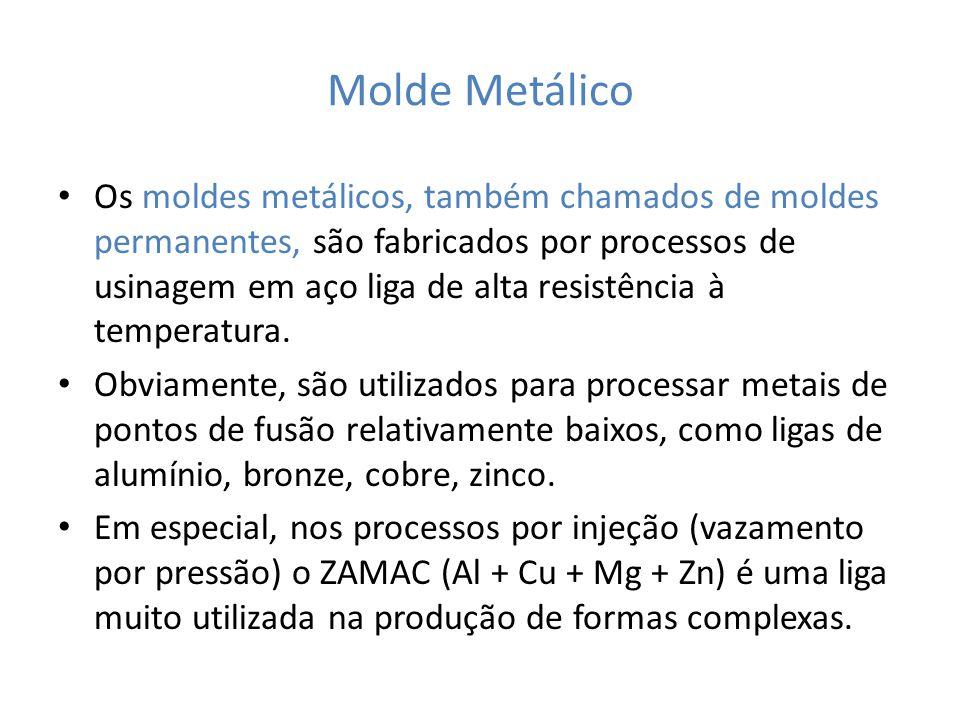 Molde Metálico Os moldes metálicos, também chamados de moldes permanentes, são fabricados por processos de usinagem em aço liga de alta resistência à temperatura.