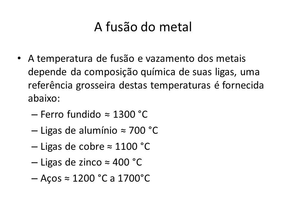 A fusão do metal A temperatura de fusão e vazamento dos metais depende da composição química de suas ligas, uma referência grosseira destas temperaturas é fornecida abaixo: – Ferro fundido 1300 °C – Ligas de alumínio 700 °C – Ligas de cobre 1100 °C – Ligas de zinco 400 °C – Aços 1200 °C a 1700°C