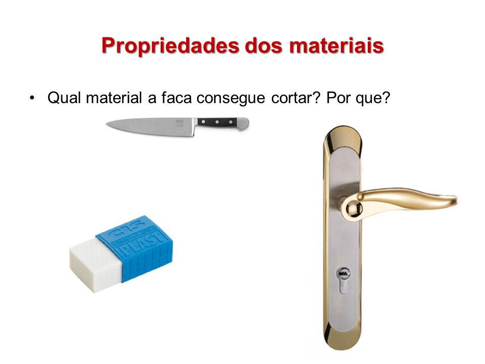 Propriedades dos materiais Dureza: Capacidade do material de resistir ao desgaste mecânico Tenacidade: Capacidade de resistir à quebra ou quantidade de energia para realizar a ruptura.
