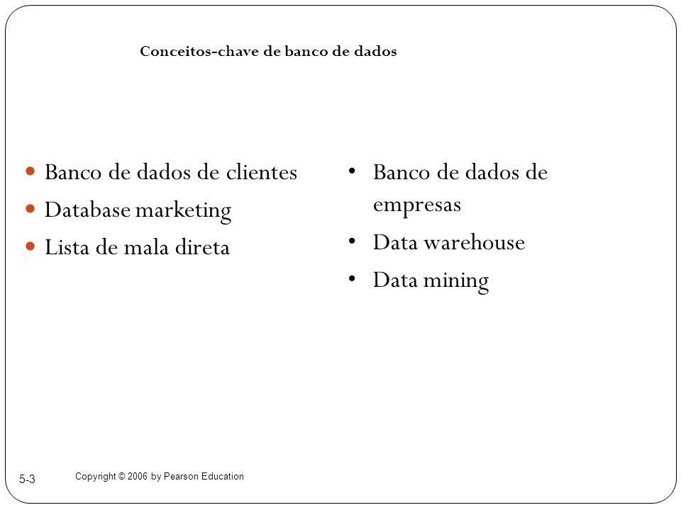 Copyright © 2006 by Pearson Education 5-3 Banco de dados de clientes Database marketing Lista de mala direta Conceitos-chave de banco de dados Banco d