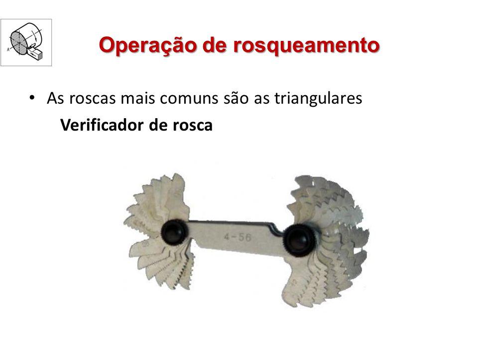 Operação de rosqueamento As roscas mais comuns são as triangulares Verificador de rosca