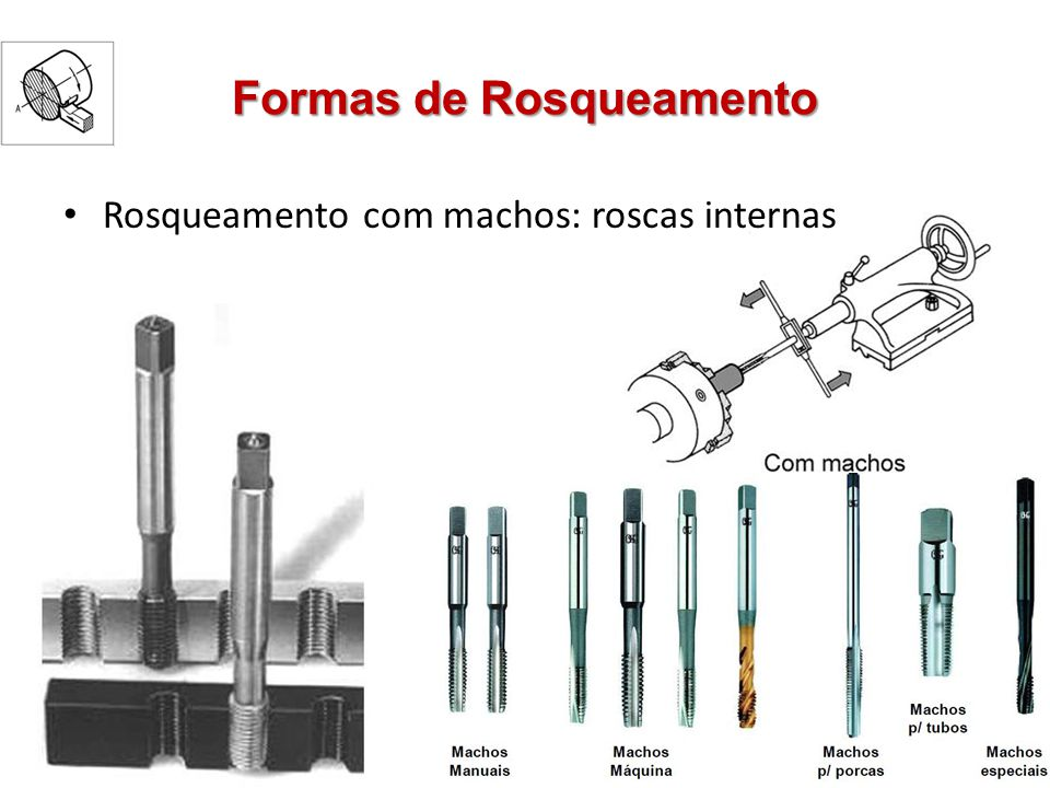 Formas de Rosqueamento Rosqueamento com machos: roscas internas