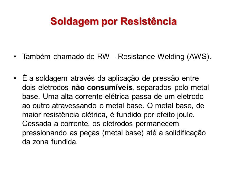 Soldagem por Resistência Também chamado de RW – Resistance Welding (AWS). É a soldagem através da aplicação de pressão entre dois eletrodos não consum