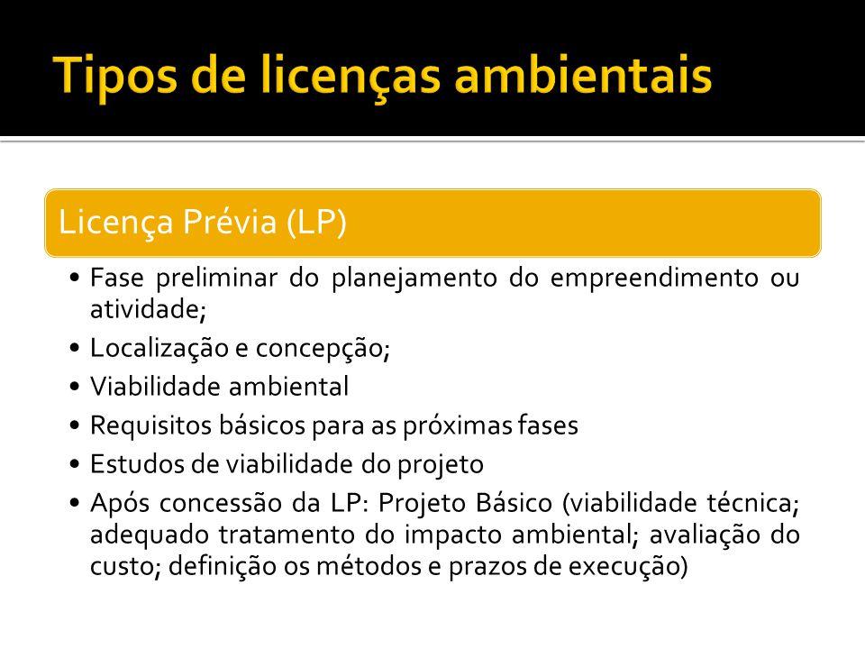 Licença Prévia (LP) Fase preliminar do planejamento do empreendimento ou atividade; Localização e concepção; Viabilidade ambiental Requisitos básicos