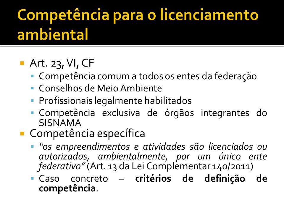 Art. 23, VI, CF Competência comum a todos os entes da federação Conselhos de Meio Ambiente Profissionais legalmente habilitados Competência exclusiva