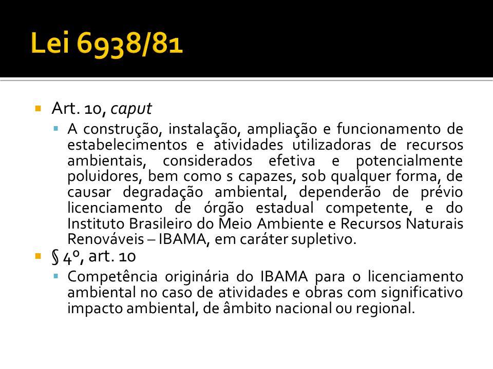 Art. 10, caput A construção, instalação, ampliação e funcionamento de estabelecimentos e atividades utilizadoras de recursos ambientais, considerados