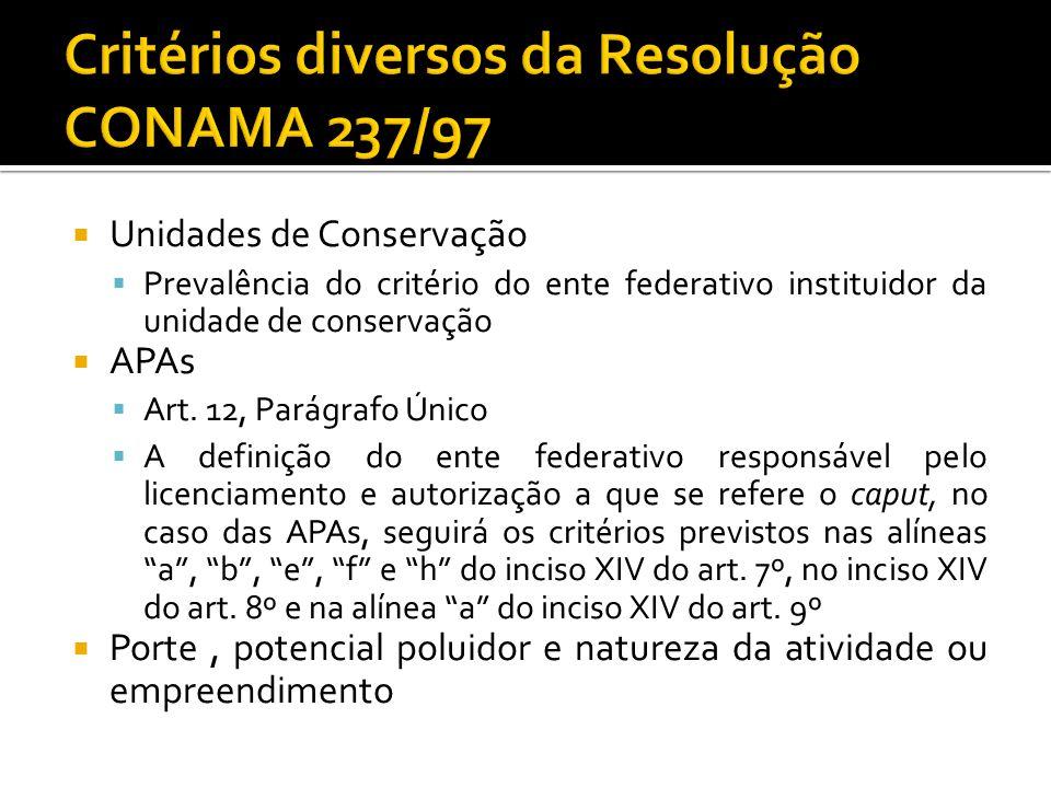 Unidades de Conservação Prevalência do critério do ente federativo instituidor da unidade de conservação APAs Art. 12, Parágrafo Único A definição do