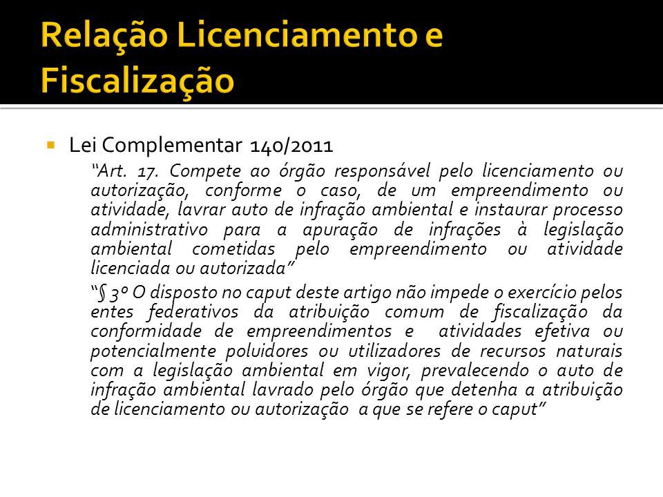 Lei Complementar 140/2011 Art. 17. Compete ao órgão responsável pelo licenciamento ou autorização, conforme o caso, de um empreendimento ou atividade,