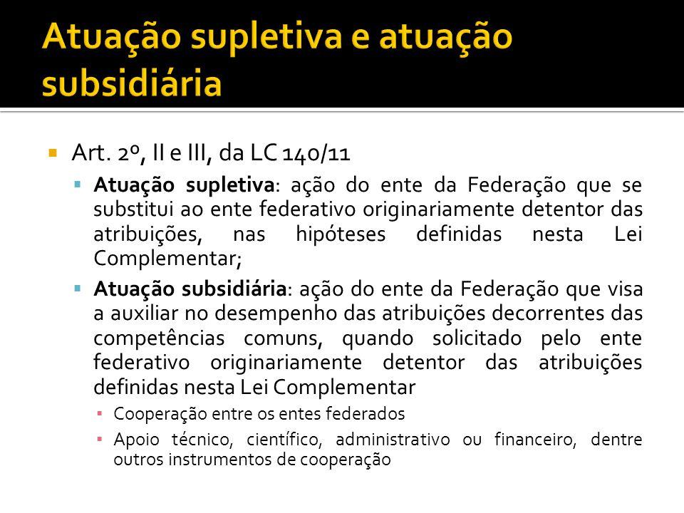 Art. 2º, II e III, da LC 140/11 Atuação supletiva: ação do ente da Federação que se substitui ao ente federativo originariamente detentor das atribuiç