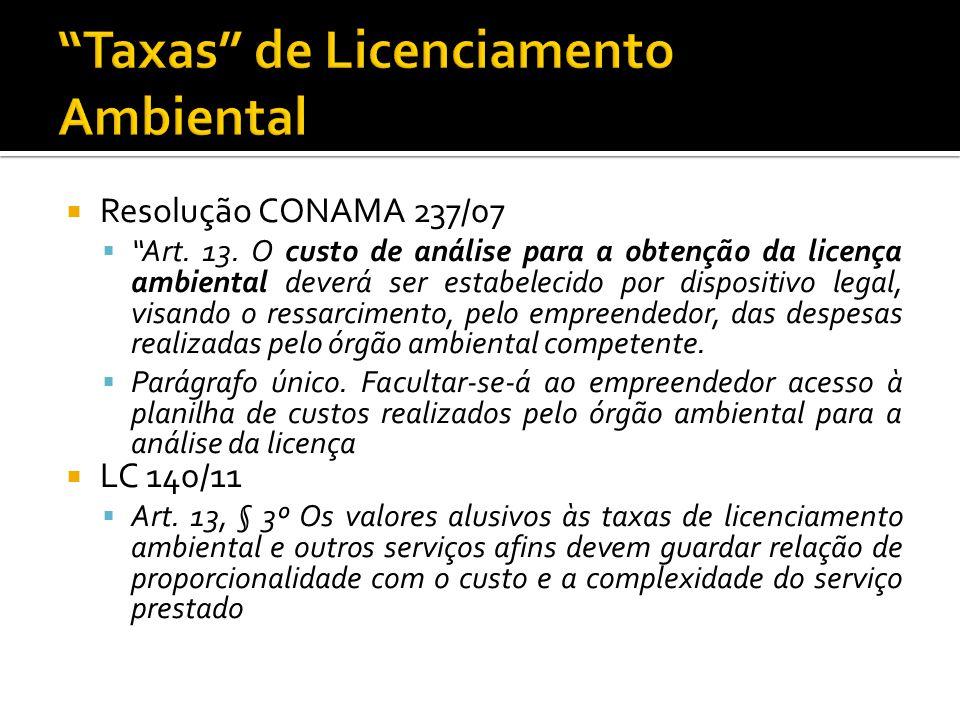 Resolução CONAMA 237/07 Art. 13. O custo de análise para a obtenção da licença ambiental deverá ser estabelecido por dispositivo legal, visando o ress