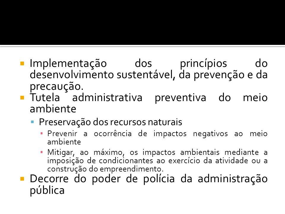 Implementação dos princípios do desenvolvimento sustentável, da prevenção e da precaução. Tutela administrativa preventiva do meio ambiente Preservaçã