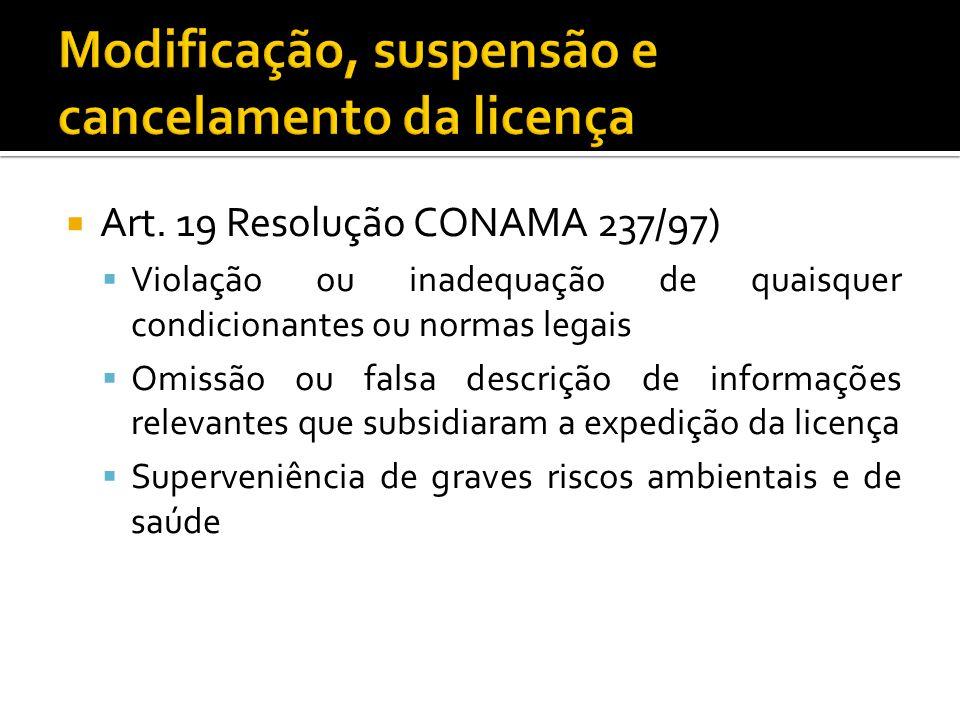 Art. 19 Resolução CONAMA 237/97) Violação ou inadequação de quaisquer condicionantes ou normas legais Omissão ou falsa descrição de informações releva