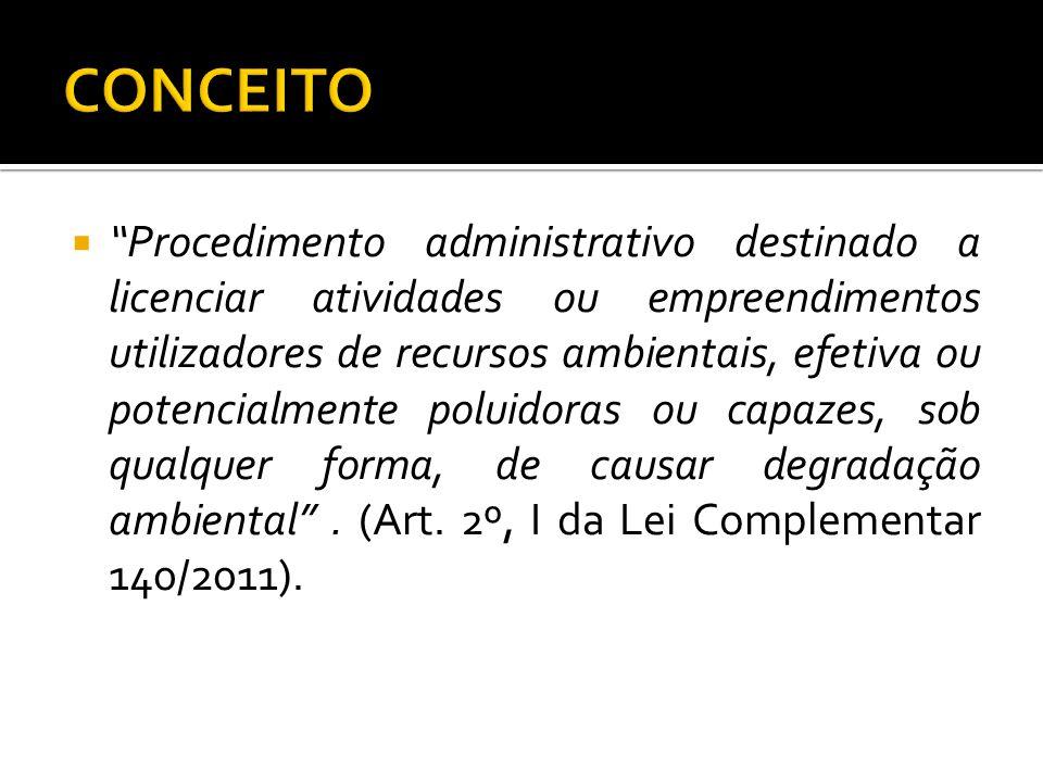 Procedimento administrativo destinado a licenciar atividades ou empreendimentos utilizadores de recursos ambientais, efetiva ou potencialmente poluido
