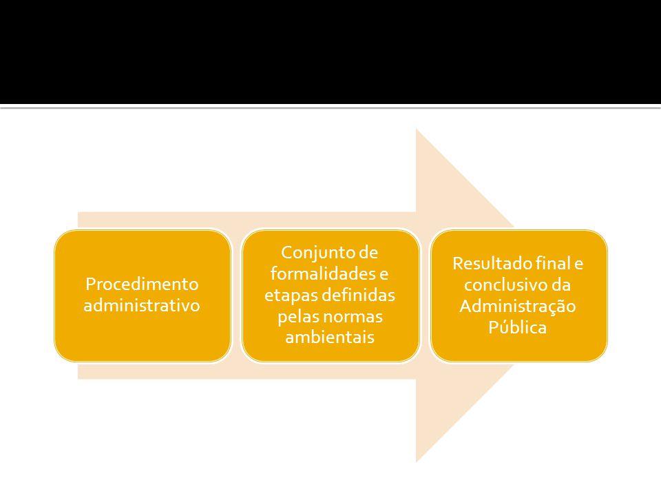 Procedimento administrativo Conjunto de formalidades e etapas definidas pelas normas ambientais Resultado final e conclusivo da Administração Pública