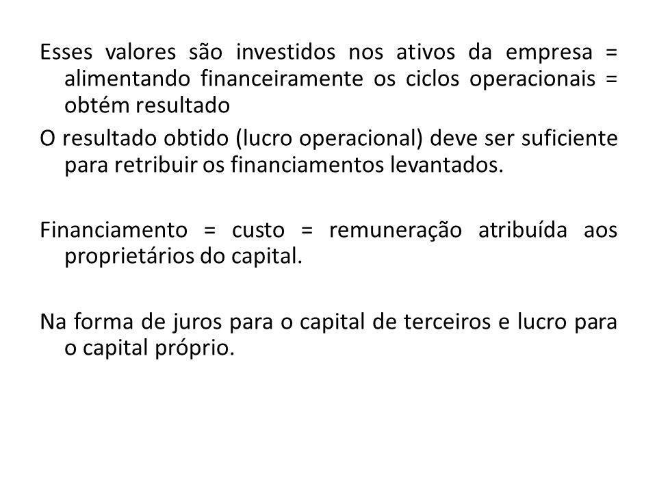 Esses valores são investidos nos ativos da empresa = alimentando financeiramente os ciclos operacionais = obtém resultado O resultado obtido (lucro op